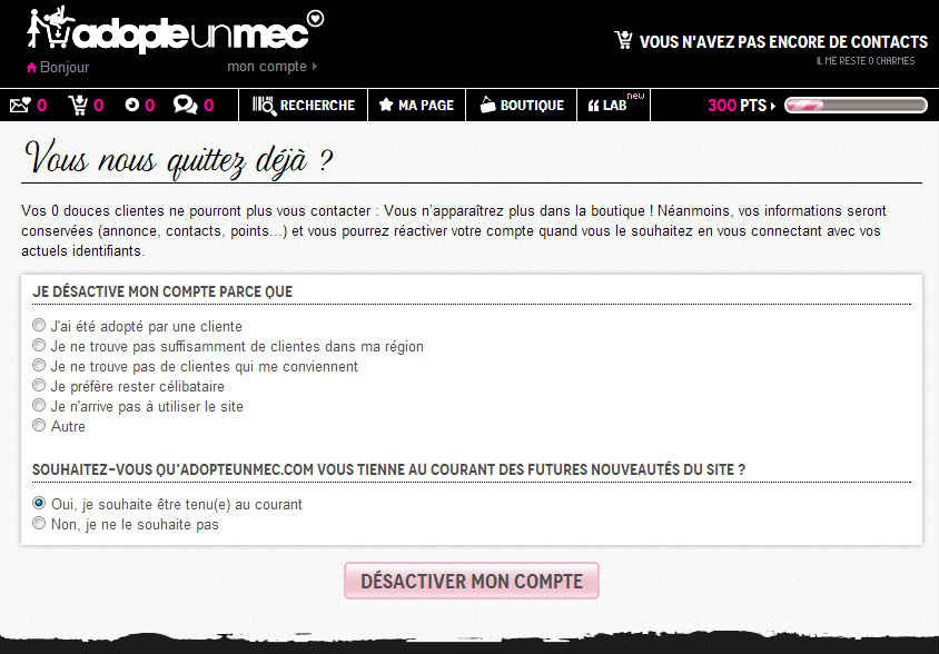Supprimer son compte AdopteUnMec - bonnes-pratiques -  - top10rencontres.fr